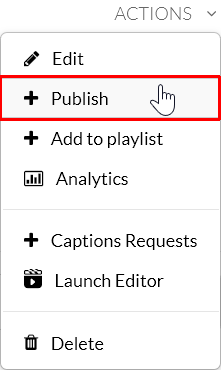 "A screenshot showing the Kaltura MediaSpace actions drop-down menu. The cursor is over the ""+Publish"" menu option which is outlined in red."