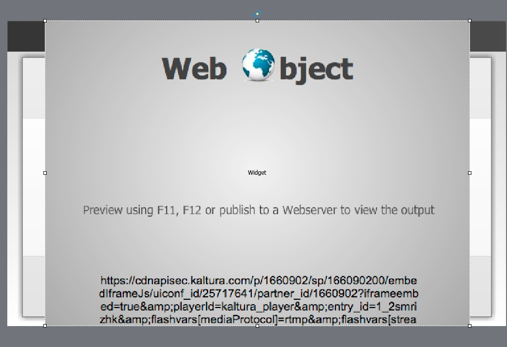 Size the web object placeholder to the size you would like the video to be on the Captivate presentation.