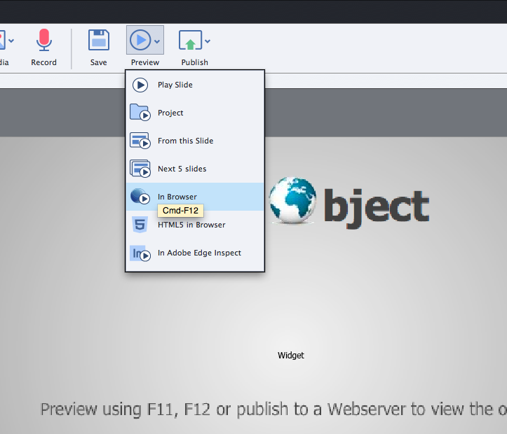 "You may preview the presentation and video by selecting the ""Preview in Browser"" command."