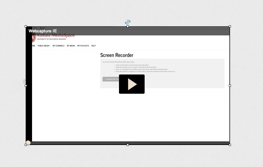 Paste this embed code into the Captivate dialog. Press enter and the dotted box will populate with the video selected.