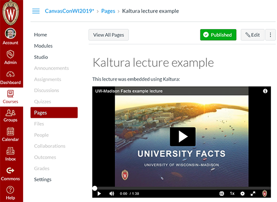A screenshot showing a Canvas course page with an embedded Kaltura video.