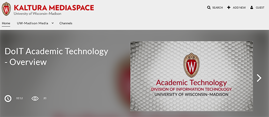 A screenshot of UW-Madison's Kaltura MediaSpace instance.