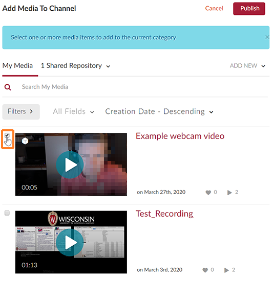 "A screenshot showing the ""Add Media To Channel"" window. Two media entries are shown. The first has the checkbox to the left checked. The checkbox is outlined in orange to help point it out."