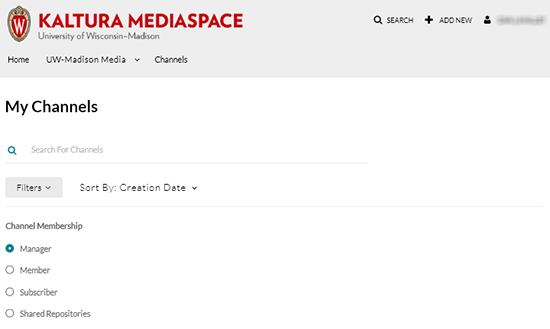 "A screenshot showing the Kaltura MediaSpace channels page. The user has clicked the ""Filters"" button to display the radio button options to display Channel Membership optiosn for ""Manager"", ""Member"", ""Subscriber"", and ""Shared Repostories"""