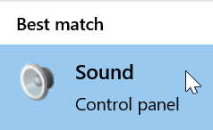 "A screenshot showing the ""Sound control panel"" search result from Windows 10."