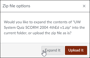 "A screenshot showing the Canvas dialog window asking the user to expand or upload the selected zip file. The cursor is over the ""Expand It"" option."