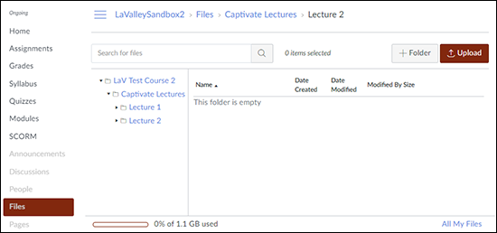 "A screenshot showing the Canvas ""Files"" tool with a folder for ""Captivate Lectures"" and a subfolder for ""Lecture 1"" and ""Lecture 2""."