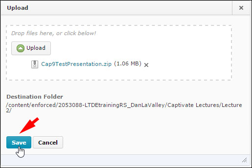"Completing uploading your file in the D2L ""Manage Files"" tool"