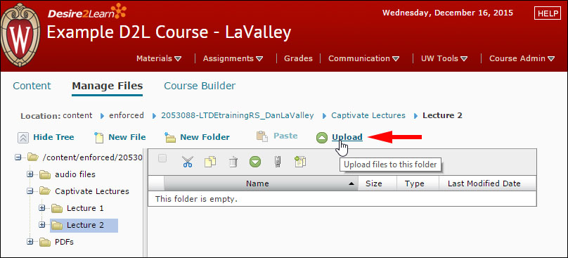 "Uploading a file in the D2L ""Manage Files"" tool"