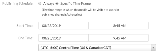 "A screenshot from the Kaltura MediaSpace ""Details"" tab showing the ""Publishing Details"" options: a Start Date/Time and End Date/Time."
