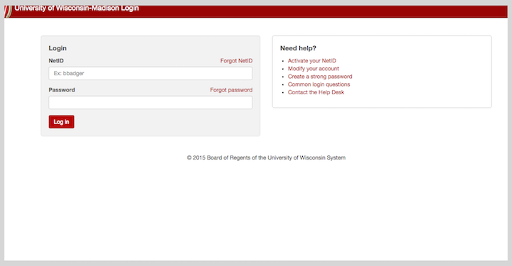 login screen for UW-Madison