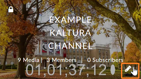 A screenshot showing a Kaltura channel. The user has moved their mouse over it which causes a pencil icon to display in the lower right. The mouse icon hovers over it and it is also outlined in red.