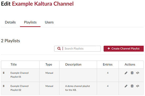 A screenshot showing the Kaltura MediaSpace channel edit page. The user has clicked on the Playlists tab which is outlined in red.