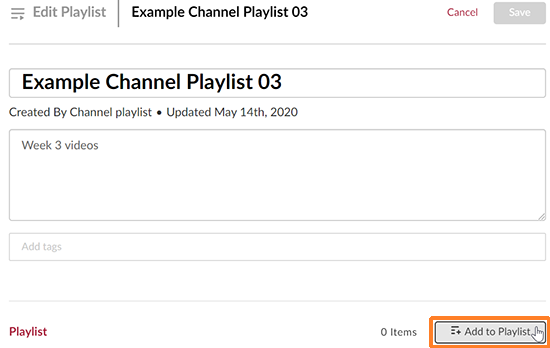 "A screenshot showing the newly created playlist. The ""Add to Playlist"" button is outlined in orange to help point it out."