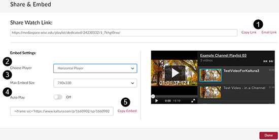 "A screenshot showing the ""Share & Embed"" window. (1) Copy Link and Email Link (2) Choose player - horozintal or vertical player (3) Max Embed Size (4) Auto Play (5) Copy Embed"