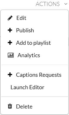"A screenshot showing the Kaltura MediaSpace media item ""Actions"" dropdown menu expanded. There are options for Edit, + Publish, + Add to Playlist, Analytics, + Captions Requests, Launch Editor, and Delete"