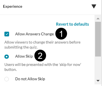 "A screenshot showing the Kaltura IVQ option to ""Allow Answers Change"" and ""Allow Skip""."