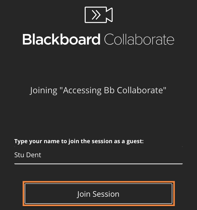 Bb Collaborate login screen on iOS