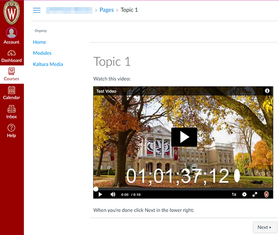 A screenshot showing a Canvas Page with an embedded Kaltura MediaSpace video.