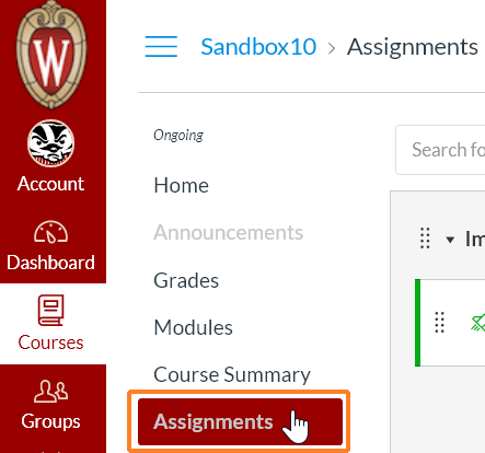 "A screenshot from Canvas showing a detail of the course navigation. The cursor hovers over the ""Assignments"" course menu option which has been clicked and is in dark red, and circled by a bright red line to help point it out."