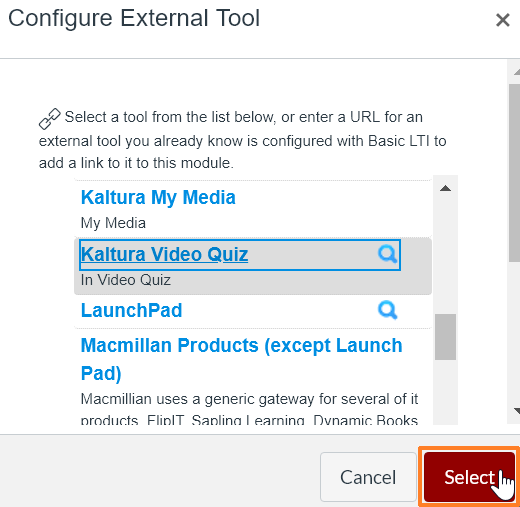 "A screenshot of the ""Configure External Tool"" window. The cursor hovers over the ""Select"" button which is outlined in red to help point it out."
