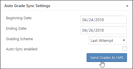 "Screenshot showing the ""Auto Grade Sync Settings"" panel in a WordPress page that has an xAPI module embedded. It shows a field for ""Beginning Date:"", ""Ending Date:"", ""Grading Scheme"", ""Auto-Sync enabled"" and a ""Send Grades to LMS"" button."