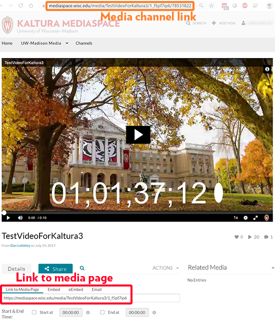 A screenshot showing a video in a channel. An orange outline at the top indicates the media channel link. A red outline near the bottom shows the link to the media page.