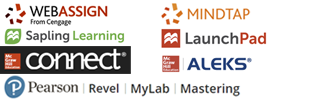 A picture of multiple publisher logos including Cengage WebAssign and MindTap, Macmillan Sapling Learning and LaunchPad, McGraw-Hill Connect and ALEKS, and Pearson Revel, MyLab, and Mastering