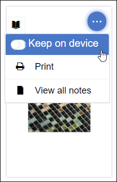 "A screenshot showing the user clicking on the Engage three dot menu and selecting ""Keep on device."""