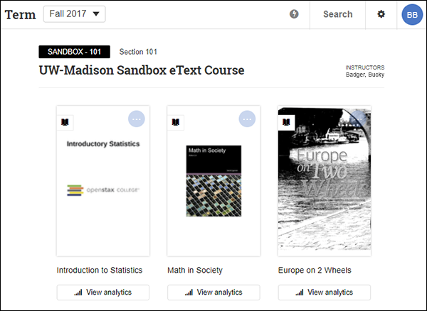 "Engage library view with the menu at the top, and the course and eTexts below including the ""View analytics"" button for instructors below each eText"