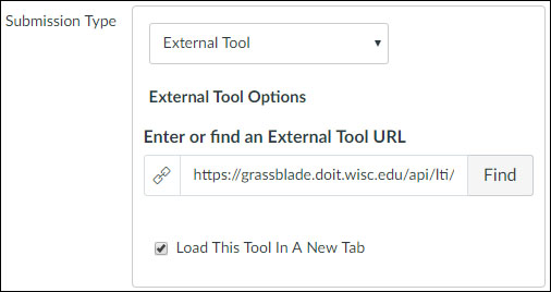 "Screenshot from Canvas showing the user setting the ""External Tool URL"" to the LTI link."