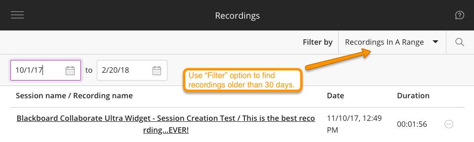 Blackboard Collaborate Ultra Recordings List Options Screenshot