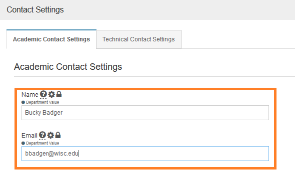 AEFIS Academic Contact Settings Page