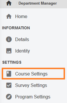 AEFIS Course Settings menu item