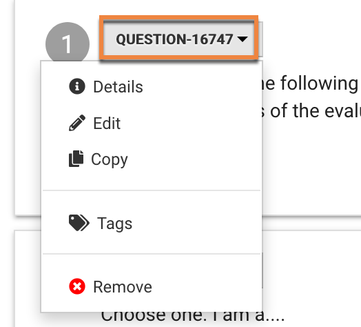 Select the QUESTION-Number button