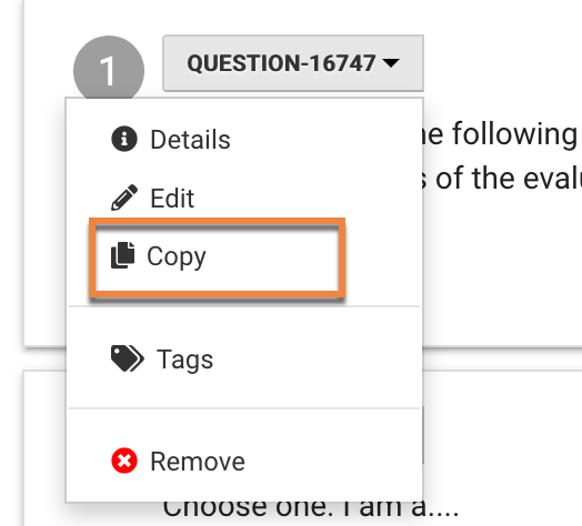 Select Copy from dropdown menu