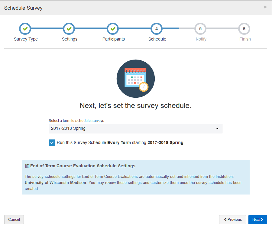 Survey Schedule screen