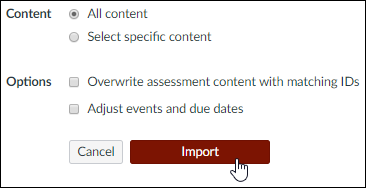 "A screenshot from the Canvas ""Import Content"" screen showing the ""All content"" radio button selected with the cursor over the ""Import"" button."
