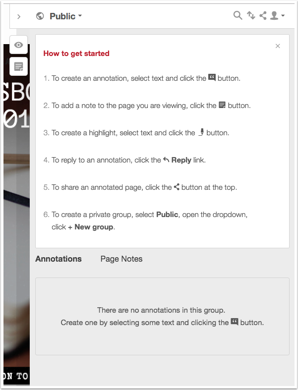 "A screenshot showing the ""How to get started"" screen in Hypothes.is with steps 1-6 detailed."