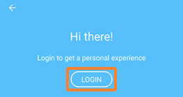 A screenshot showing KMS Go with the LOGIN button outlined in orange to help draw attention to it.
