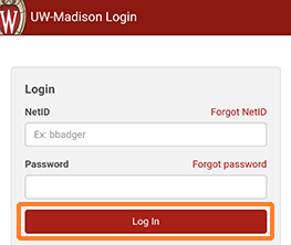"A screenshot showing the NetID login screen that displays in KMS Go. There is a ""NetID"" field, a ""Password"" field, and a ""Log In"" button. The Log In button is outlined in orange to help draw attention to it."