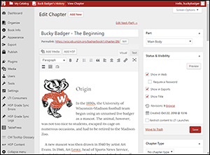 Screenshot showing the Pressbooks Edit Chapter screen with a page on Bucky Badger's origin loaded.