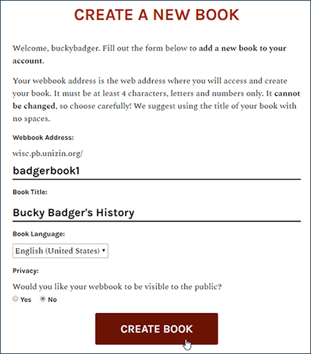 "Screenshot showing the Pressbooks ""Create a New Book"" screen with the basic info filled out and the cursor over the ""Create Book"" button."