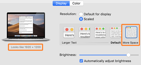 "A screenshot showing an OSX ""Displays"" system preference where a Retina display is set to ""Scaled"" and ""More Space"" where the approximate resolution is 1920 x 1200."