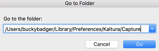 "Screenshot showing the OSX Finder Go to Folder option with the the Kaltura Capture default capture location for the user ""buckybadger"""