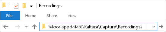 "A screenshot showing the Windows File Explorer location bar with the text ""%localappdata%\Kaltura\Capture\Recordings\"" in it."