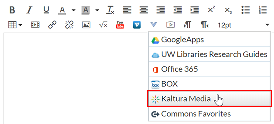 "A screenshot showing the Canvas rich content editor with the external tools menu clicked and the cursor over ""Kaltura Media""."