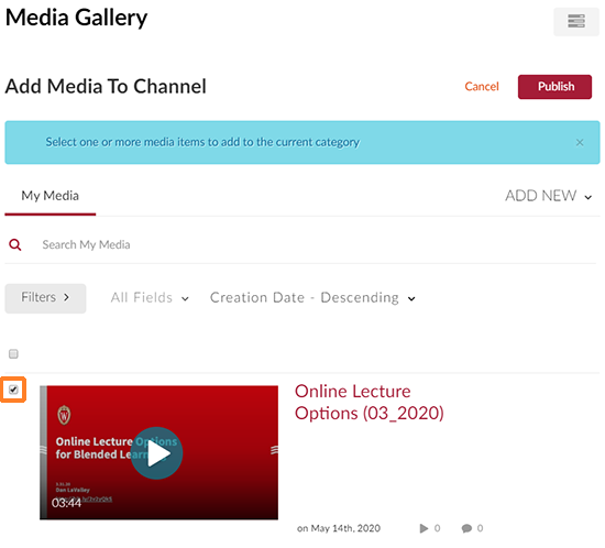 "A screenshot showing the ""Add Media"" screen. The user has clicked the checkbox to the left of a media item which is outlined in orange to point it out."