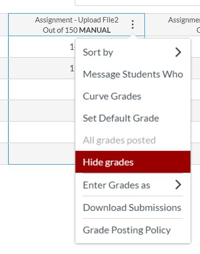 Hide grades