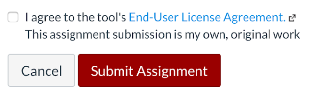 Depiction of End-user license agreement checkbox on Canvas